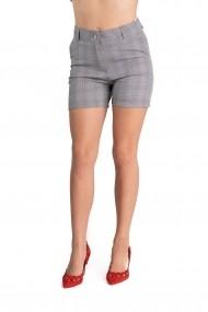 Pantaloni Dama Gri In Carouri Scurti Eleganti Yara
