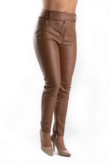 Pantaloni Piele Ecologica Crem Eleanor