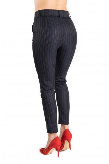 Pantaloni Dama Eleganti Bleumarin Cu Dungi Gri Ember