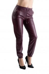 Pantaloni Dama Piele Ecologica Grena Vatuiti Rihanna