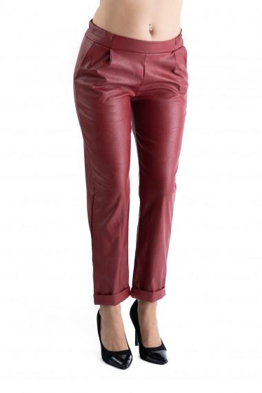 Pantaloni Piele Ecologica Grena Scarlett Marime Mare