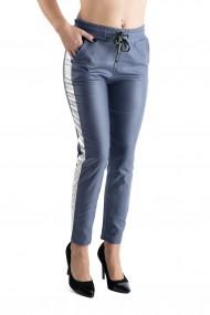 Pantaloni Imitatie Piele Bleumarin cu Vipusca Alb Sidefat Hadley
