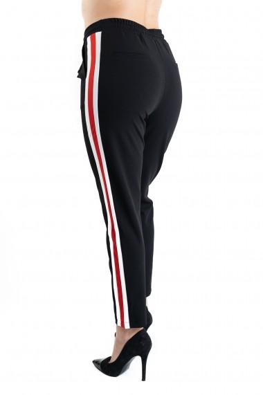 Pantaloni Dama Negri cu Vipuca Alba Cu Rosu Roberta