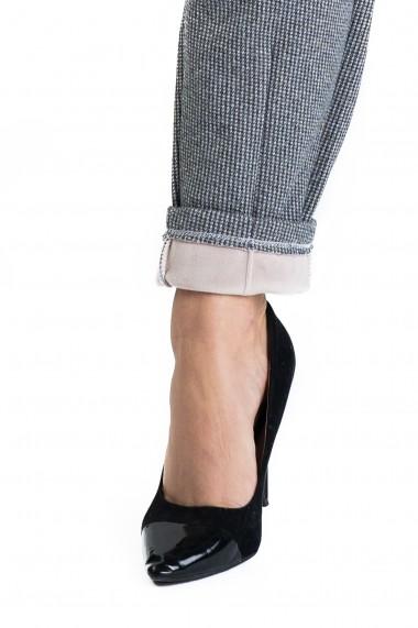 Pantaloni Dama Din Stofa Cu Blanita pe Interior Gri Pepit Sybel