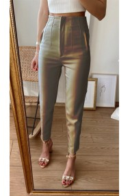 Pantaloni Annalise Bej Cu Pliuri In Talie Premium