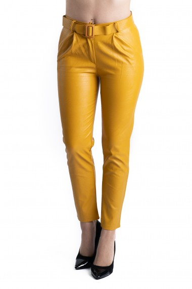 Pantaloni Dama Imitatie Piele Galbeni Kylie
