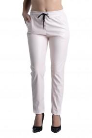 Pantaloni Dama Imitatie Piele Alb Rose Sophia