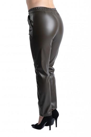Pantaloni Dama Imitatie Piele Kaki Sophia