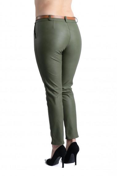 Pantaloni Dama Imitatie Piele Kaki Kennedy