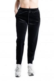 Pantaloni Trening Dama Din Catifea Negri Marime Mare