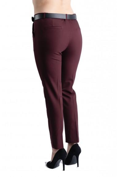 Pantaloni Ava Eleganti Marime Mare Grena Premium