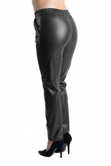 Pantaloni Dama Boyfriend Imitatie Piele Negru Sophia