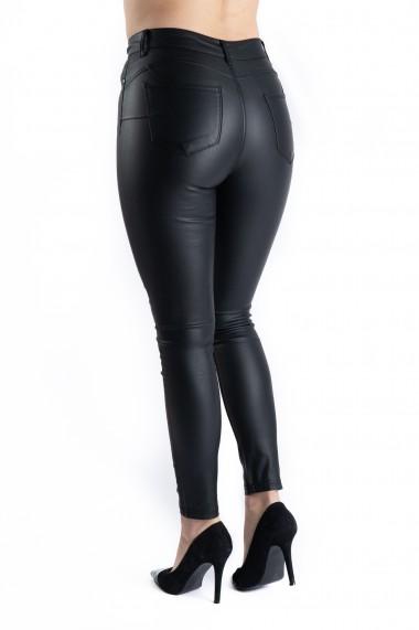 Pantaloni Dama Imitatie Piele Negri Bella