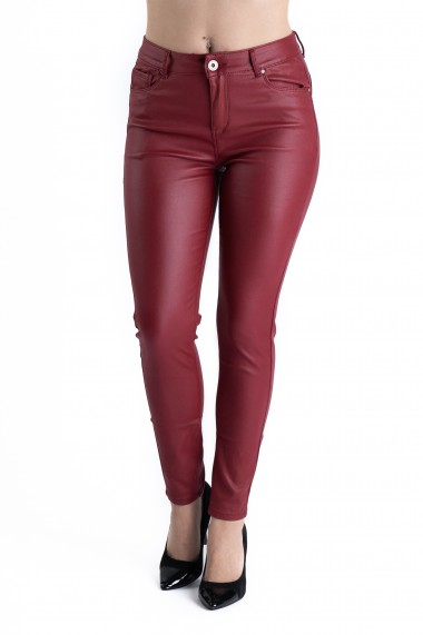 Pantaloni Dama Imitatie Piele Grena Masura Mare Bella
