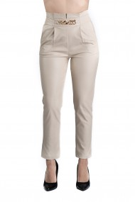 Pantaloni Dama Imitatie Piele Crem Kayla