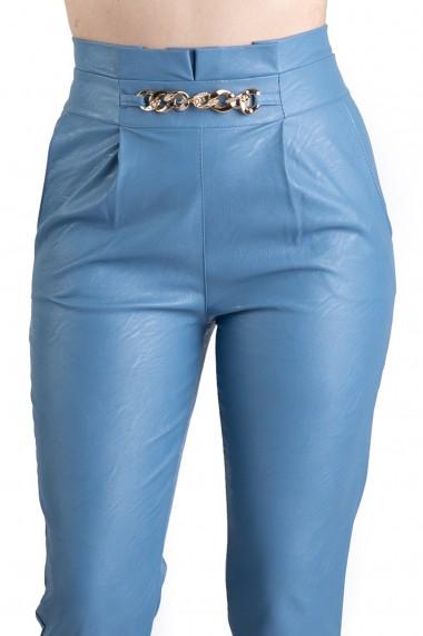 Pantaloni Dama Imitatie Piele Bleu Kayla