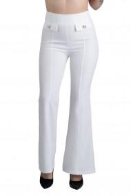 Pantaloni Albi Eleganti Evazati Jane