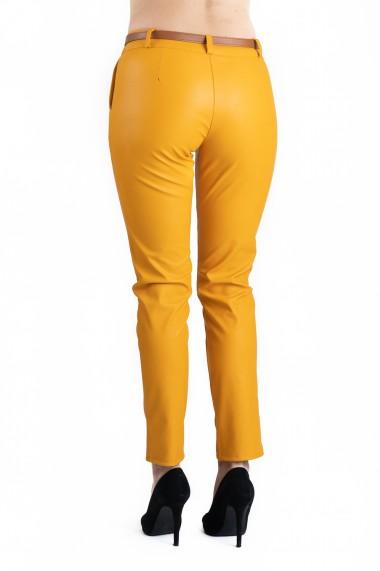 Pantaloni Dama Imitatie Piele Galbeni Kennedy