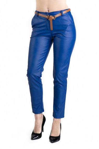 Pantaloni Dama Imitatie Piele Albastri Kennedy