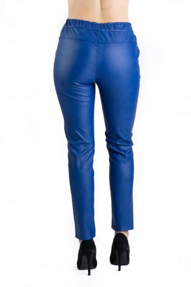 Pantaloni Piele Ecologica Tip Boyfriend Albastri Tessa Marime Mare