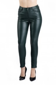 Pantaloni Dama Imitatie Piele Verde Bella