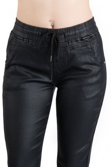 Pantaloni Dama Imitatie Piele Negri Reagan