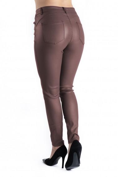 Pantaloni Dama Imitatie Piele Grena Inchis Bella