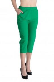 Pantaloni Rachel Marime Mare Dama Verde Crud Trei Sferturi 3/4