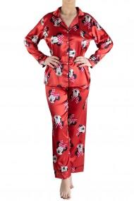 Pijama Dama Satin 2 Piese Mickey Mouse Rosu