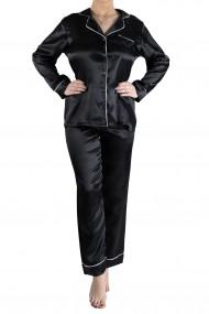 Pijama Dama din Satin 2 Piese Eleganta Negru