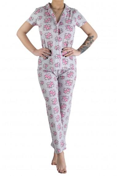 Pijama Dama din Bumbac 2 Piese Cu Motive Florale Gri cu Roz