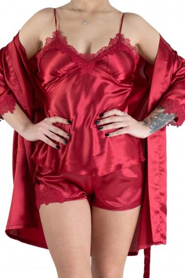 Pijama Dama Satin 3 Piese Rosu