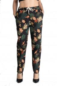 Pantaloni Dama Din Panza Topita Bumbac Cu Siret In Talie Motiv Floral Marime Mare