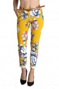 Pantaloni Dama Eleganti Caroline Galbeni Motive Florale