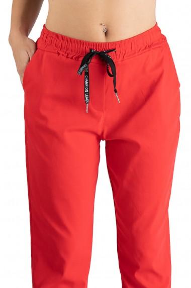 Pantaloni Casual Rosu Snur In Talie Ariana Marime Mare