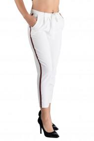 Pantaloni Dama Eleganti Albi cu Vipusca Skylar