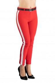 Pantaloni Dama Eleganti Rosu cu Vipusca Alba Kaylee