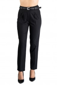 Pantaloni Dama Eleganti Negri cu Dungi Gri Kaylee