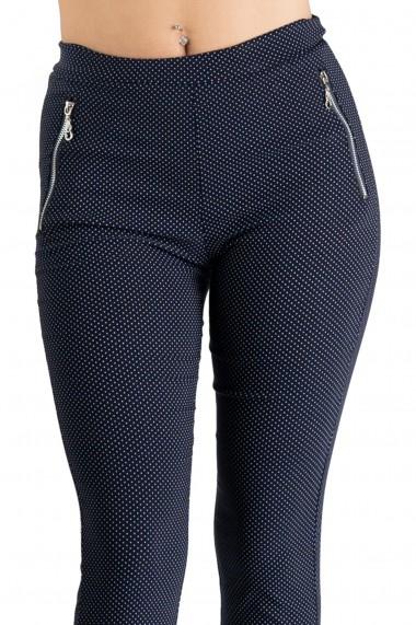 Pantaloni Casual Bleumarin Cu Buline Marime Mare