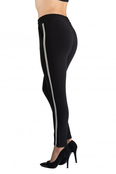 Pantaloni Dama Negri cu Vipusca Alba Rylee
