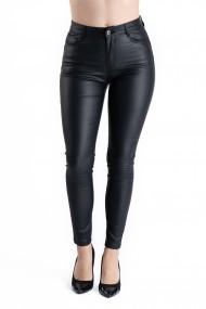 Pantaloni Dama Imitatie Piele Negri Vatuiti Bella