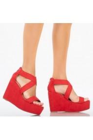 Sandale cu paltforma dama Aza rosii