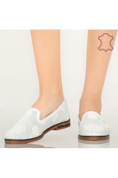 Pantofi piele naturala Guen albi