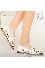 Pantofi piele naturala Carn albi