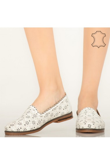 Pantofi piele naturala Hill albi
