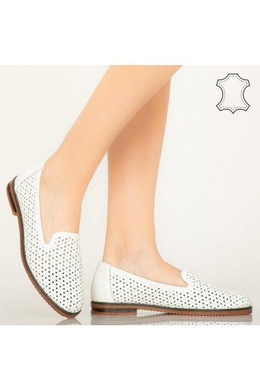 Pantofi piele naturala Maua albi