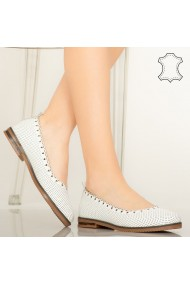 Pantofi piele naturala Olind albi