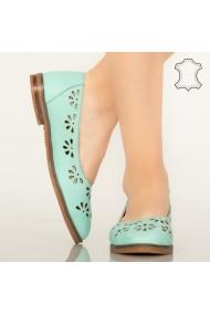 Pantofi piele naturala Sirap turcoaz