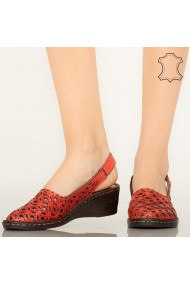 Pantofi piele naturala Huan rosii