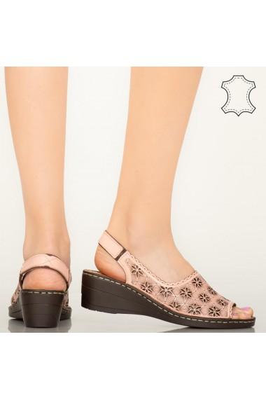 Pantofi piele naturala Zarea roz